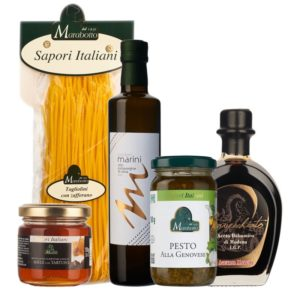 Coffret cadeau composé d'excellents produits de notre épicerie fine. Huile d'olive bio, vinaigre balsamique de Modène, pâtes au safran, crème à la truffe et tomates séchées dans l'huile d'olive.