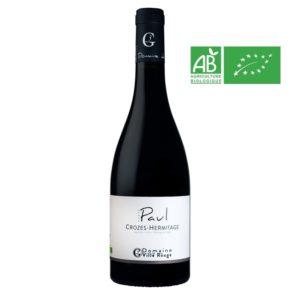 Bouteille de 75 cl de Crozes-Hermitage Cuvée Paul 2016. Vin Corsé en Biodynamie produit pasr le Domaine de la Ville Rouge.