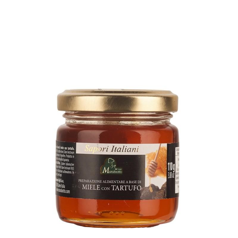 Pot de 110 g de miel italien mille fleurs et truffe d'été. Produit de la maison familiale Marabotto