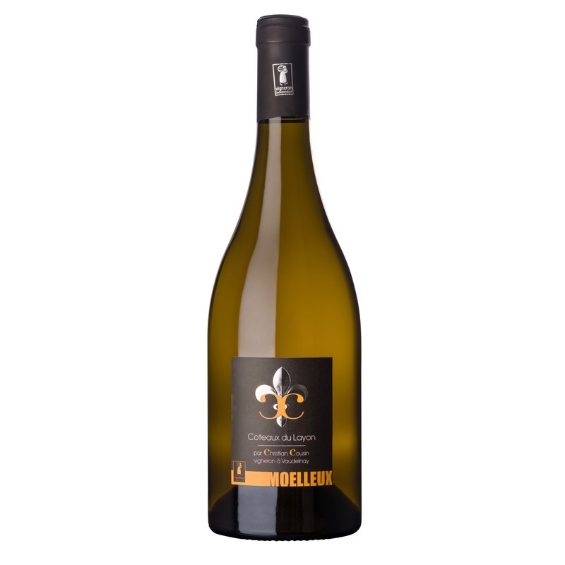 Bouteille de 75 cl de Coteaux du Layon 2016. Origine Val de Loire, vin de dessert.