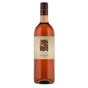 Bouteille de 75 cl de Soir de Été Genève AOC 2018, Domaine de la Mermière, Soral. Vin rosé composé de Gamay, Garanoir , Pinot Noir. Idéal en apéritif ou avec des poissons du lac.