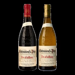 Photo de 2 bouteilles de Châteaunuef-du-Pape. Vin rouge et blanc corsé pour cuisine gastronomique.
