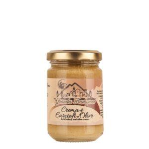 Pot de 130 g de crème d'artichauts et olives. Origine Piémont confectionné par Granda Tradizioni.