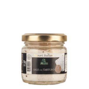 Pot de 110 g de sel à la truffe. Produit de la maison familiale Marabotto