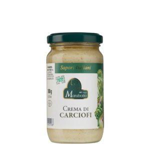 Pot de 180 g de crème d'artichauts. Produit au Piémont par la maison familiale Marabotto. Produit sans gluten.
