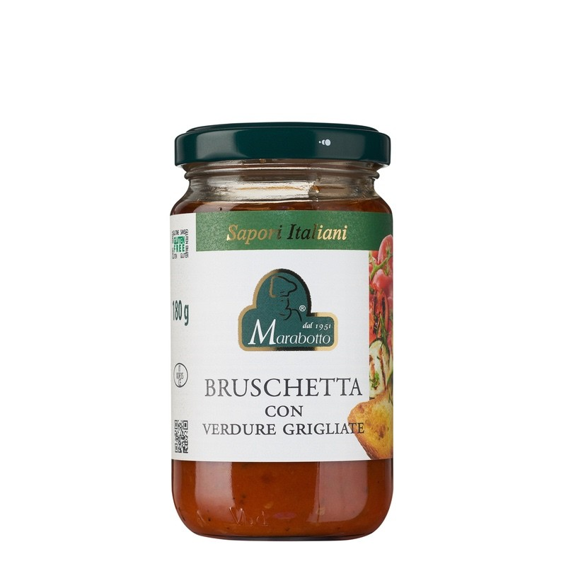 Pot de 180 g de sauce Bruschetta Italiana avec légumes grillés. Produit au Piémont par la maison familiale Marabotto. Produit sans gluten.