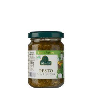 Pot de 130 g de pesto genovese. Produit au Piémont par la maison familiale Marabotto. Produit sans gluten.