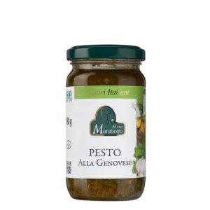 Pot de 180 g de pesto genovese. Produit au Piémont par la maison familiale Marabotto. Produit sans gluten.