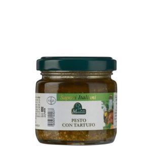 Pot de 80 g de pesto à la truffe blanche. Produit au Piémont par la maison familiale Marabotto.