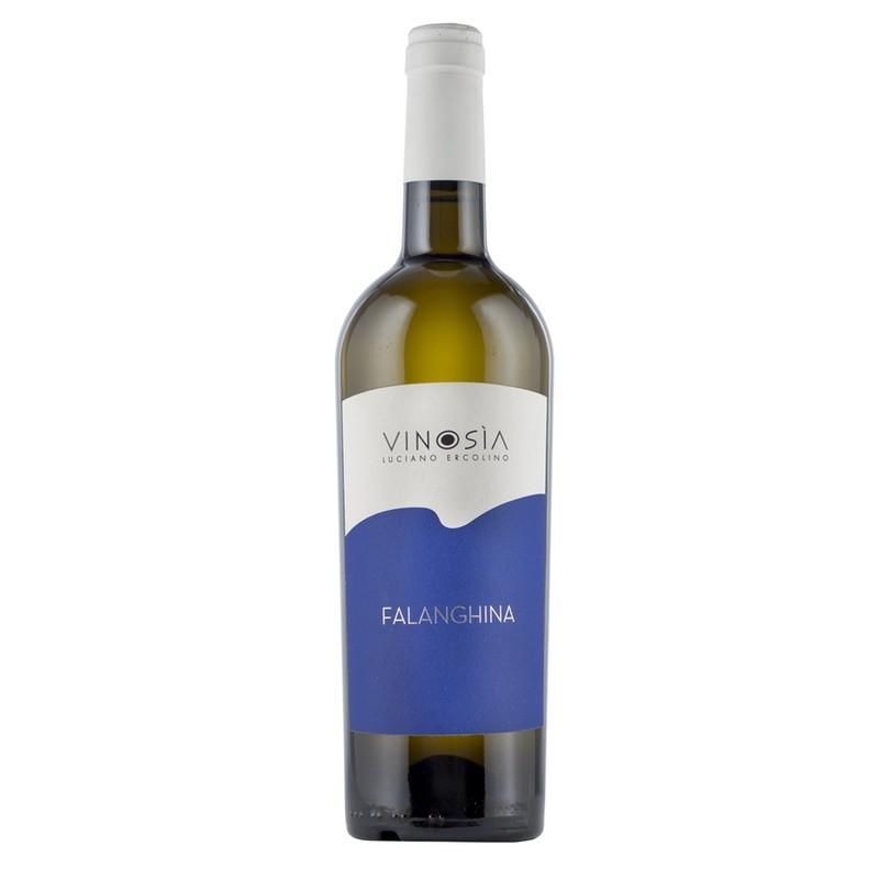 Bouteille de 75 cl de Falanghina. Vin blanc fruitée Vinosia, Campanie. Idéal en apéritif, avec saumon fumé ou poissons grillés.