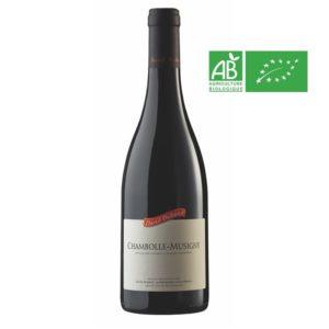Bouteille de 75 cl de Chambolle-Musigny du domaine Duband. Vin corsé pinot noir pour gibier ou viandes rouges.