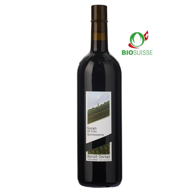 Bouteille de 75 cl de Syrah Quintessence 2017 Benoît Dorsaz. Vin de garde idéalavec Râble de lièvre, rôti de cerf.