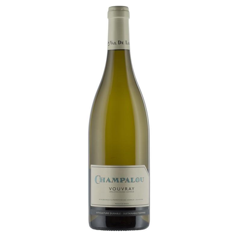 Bouteille de 75 cl de Vouvray sec 2018, vin blanc du Val de Loire idéal avec la cuisine exotique