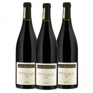 Coffret 3 bouteilles de 75 cl de Saint Joseph Silice 2015, 2016, 2017 du Domaine Coursodon. Idéal avec gibier à plumes et pièces nobles de viandes rouges.