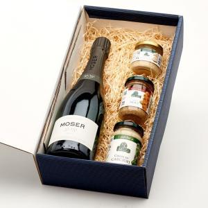 """Coffret """"Bulles"""" avec 1 bouteille de 51,151 Trento DOC et 3 spécialités italiennes de notre épicerie pour composer un apéritif dinatoire."""