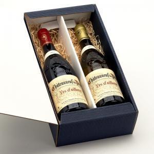 Coffret 2 bouteilles de Châteauneuf du Pape Les Cailloux du Domaine André Brunel.